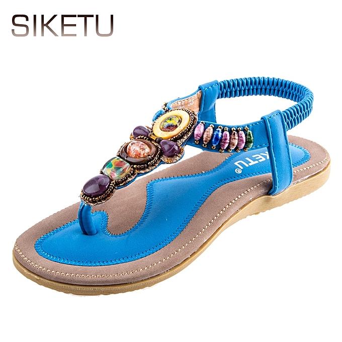 fedb47a6a Ladies Sandals Bohemia Beads Elastic Band Beach Flip-flop Sandals-BLUE