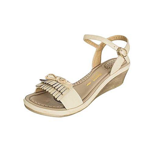 f460e3995e6a BATA Beige Ladies  Formal Wedge Sandals   Best Price