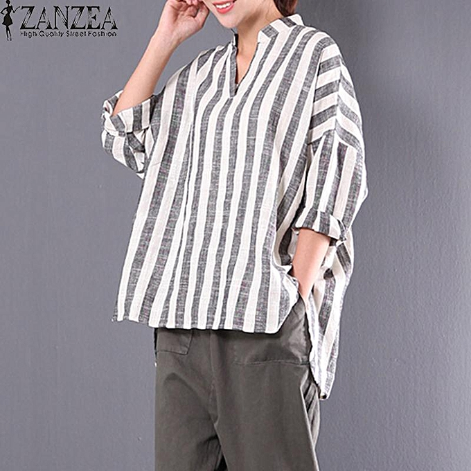 e163289d0b8 ZANZEA Spring Plus Size M 5XL Cotton Linen Blouse Women Stand Collar V Neck  Loose Irregular