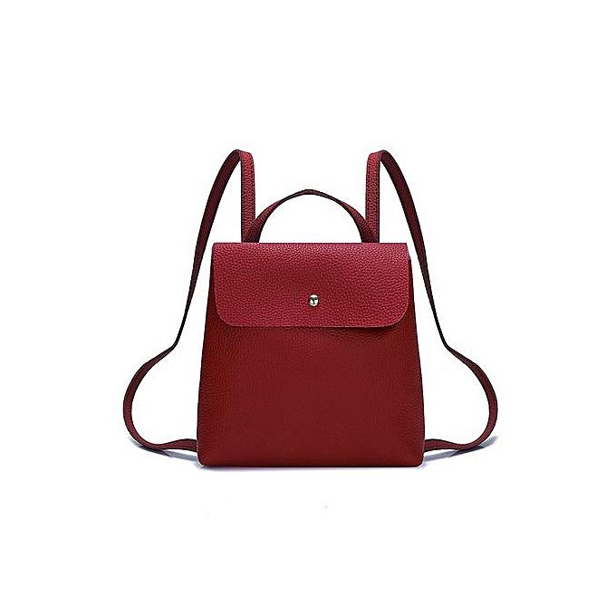 35ebc3b4bcf5 Zetenis Fshion Women Girl Pure Color Leather Mini School Bag Backpack  Shoulder Bag -Red ...