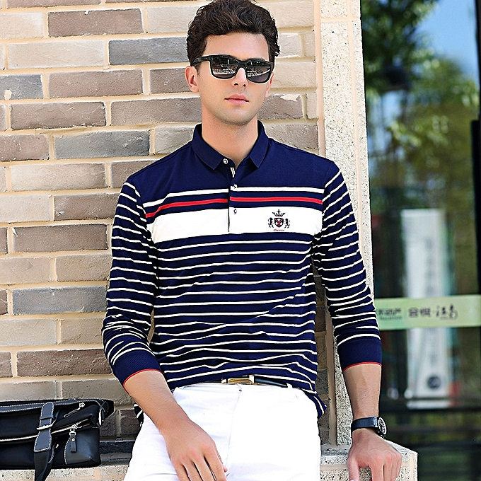 ac86636fc 2018 Autumn And Winter Business Casual Men's Long-sleeved Lapel T-shirt  Solid Color