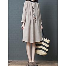 Women Long Sleeve Stripe Shirt Dress