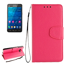 For Samsung Galaxy Grand Prime / G530H / G5308W Litchi Texture Horizontal Flip Leather Case with Holder and Card Slots and Wallet and Photo Frame and Lanyard(Magenta)