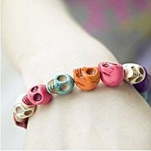 bluerdream-Color Turquoise Gem Skull Tibet Buddhist Prayer Beads Mala Bracelet-Multicolor