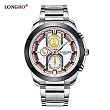 Watches, 80011 Mens Fashion Business Wrist Watches Stainless Steel Starp Luminous Sportive Miliatry Analog Quartz Watch For Man - Silver