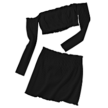 Off Shoulder Knitted Cropped Top and Bodycon Mini Skirt - BLACK