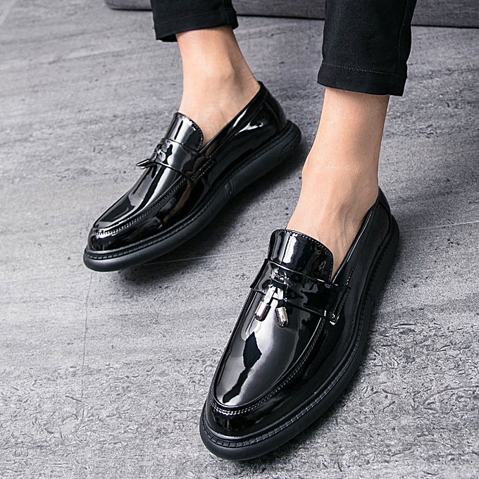 Patent Leather Men Shoes Business Casual Loafers Tassel Male Formal  Moccasins (Black)