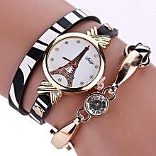Lady  Leather Wrist Watch Duoya Fashion Women Leather Stainless Steel Bracelet Quartz Dress Wrist Watch Relogios-White