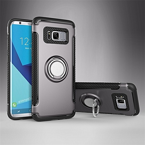 For Samsung Galaxy S8 Plus , Luxury Rotated Metal Ring Holder Car Combo  Phone Back Full Cover Case Carbon Fiber Texture Hard PC Case Anti-scratch