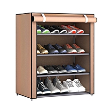 Shoe Rack Organizer Shoe Storage Cabinet Tower with Nonwoven Fabric Cover Coffee