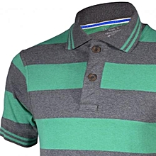 Green and Grey Striped Mens Pure Cotton Polo T-Shirts