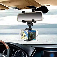 Car Rearview Mirror Mount Holder Stand Cradle Mechanical Clamp For Cell Phone