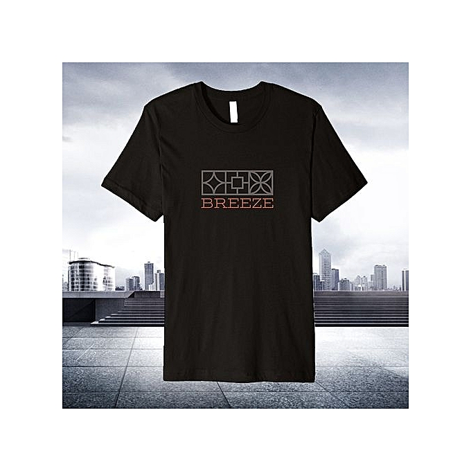 5ccc79a1b42 100% Cotton Retro Breeze Block Mcm T-Shirt Simple Style Black Men Tee