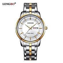 80146 Man Fashion Business Watch Men Brief Dial Date Calendar Watches Steel Strap Waterproof Wristwatch for Men - Silver
