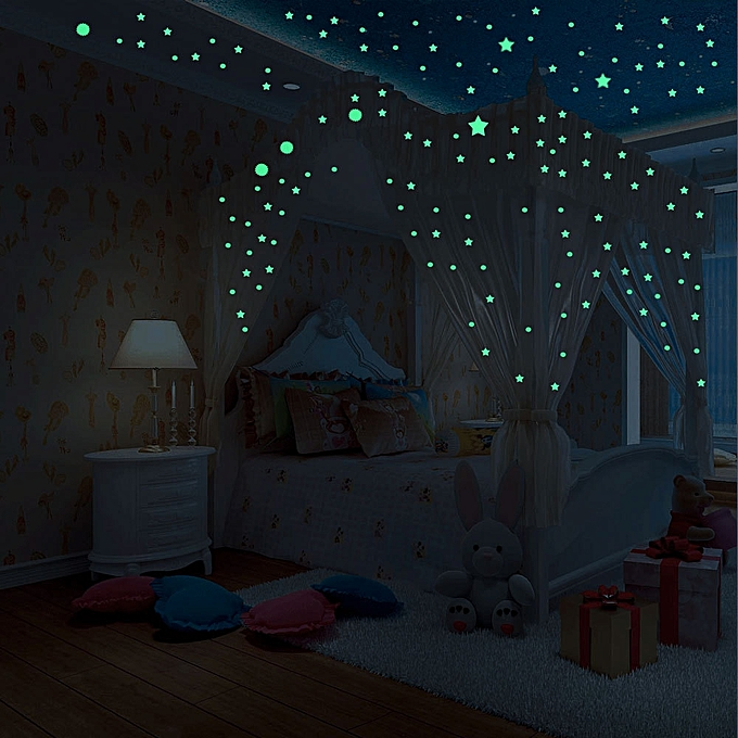 Glow In Dark Wall Ceiling Moon Stars Stickers Night Kid Home Decor Green