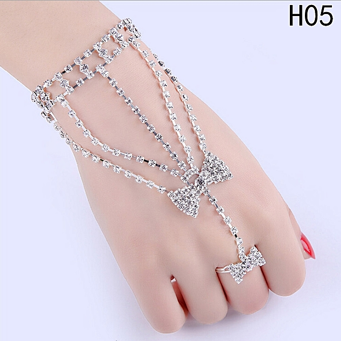 Crystal Multi Chain Bracelet Finger Ring Hand Harness Wedding Jewelry For Women