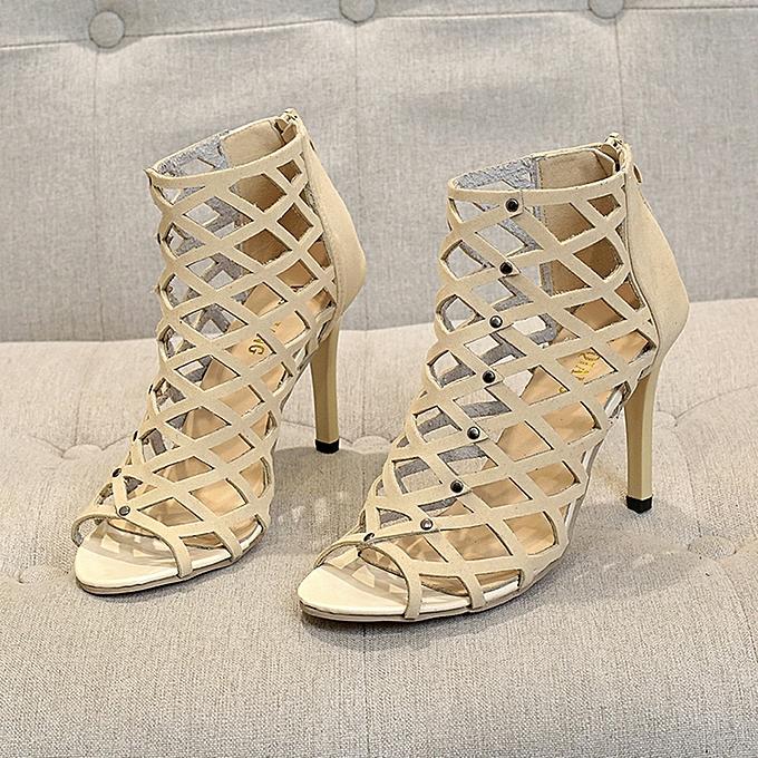 d85359ff8e5 Fashion Hiamok Women s Fashion Peep Toe High Heels Shoes Rivet Roman  Gladiator Sandals   Best Price