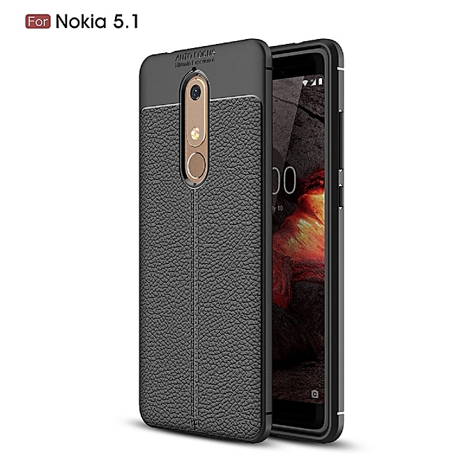 best service 73a55 1ad5f 1 Silicone Case Litchi Pattern TPU Cover For Nokia 5 - Black