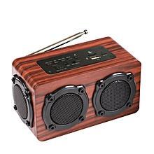 HiFi Wireless Bluetooth Speaker Wooden Bass Portable FM Radio TF Card Dual Drivers With Mic