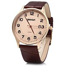 W23053B Men Ultrathin Date Leather Analog Quartz Watch-COFFEE GOLDEN GOLDEN