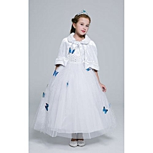 Great Girl's Dresses Cinderella Princess Dress Frozen Girl Dress Deluxe Edition Aisha Queen's Dress Children's Casual Disney Dress -white