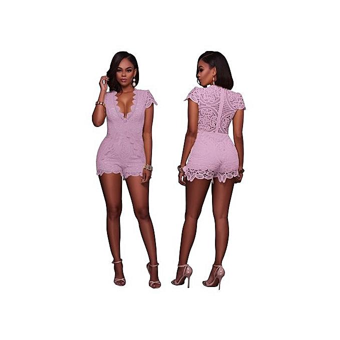 66786c11c66 Generic Grace Sexy Women Summer Lace Jumpsuit V-neck Solid Color Slim Fit Short  Playsuit-Pink