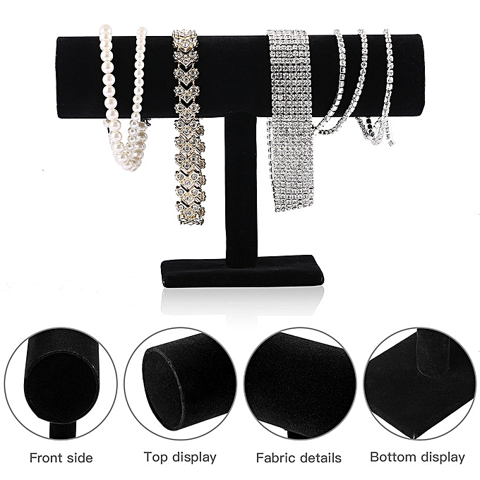 Black Velvet Bracelet Chain Watch T Bar Rack Jewelry Hard Display Stand Holder