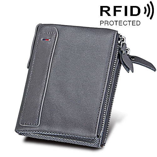 Genuine Cowhide Leather Crazy Horse Texture Dual Zipper Short Style Card Holder Wallet Rfid Blocking Card Bag Protect Case For Men Size