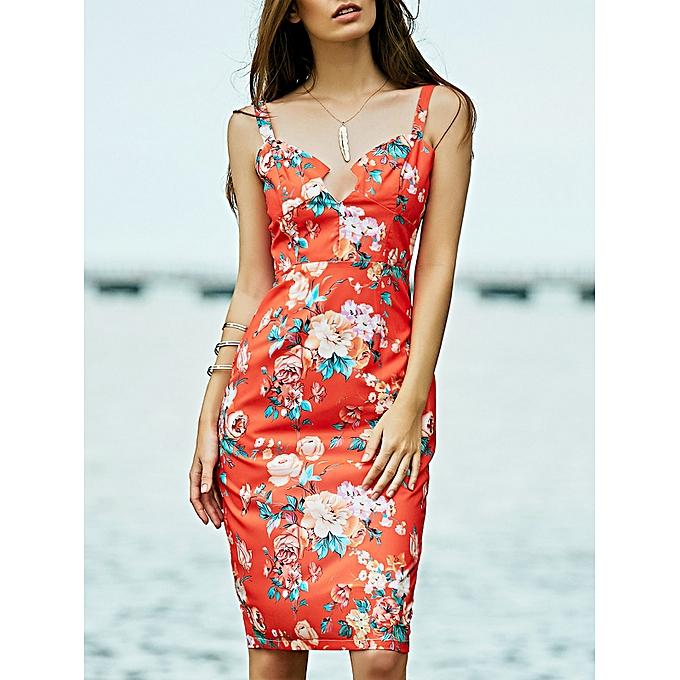 68cd418e6d2f ZAFUL Slimming Low Cut Bodycon Summer Midi Dress