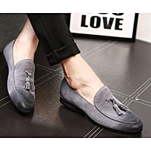 Men's Casual Leather Lazy Men Loafers Slip On Lazy Flats Men's Men's Shoes-Grey