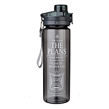 Water Bottle(Plastic)-The Plans in black - With Jeremiah 29:11 Message/Verse