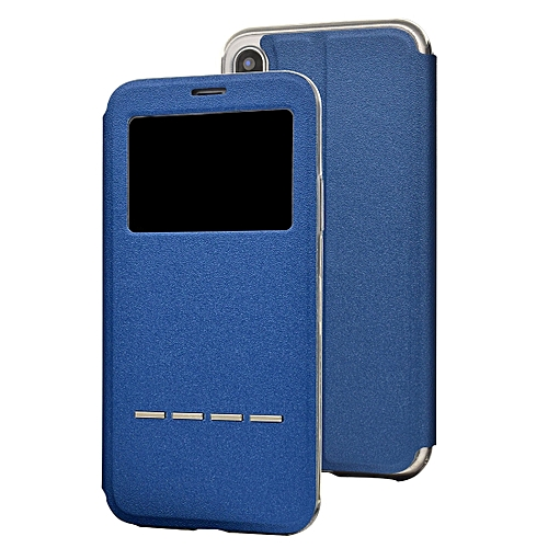 the best attitude 5d8ba 01038 Frosted Texture Horizontal Flip Leather Case for iPhone X & XS, with Call  Display ID (Blue)