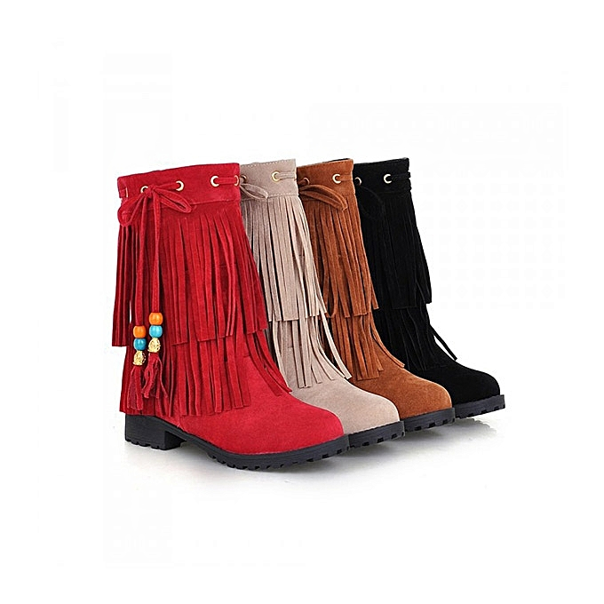 ad68a946bb07d Big Size Women Flat Ankle Boots Ladies Tassels Ankle Short Boots Slip On  Boots