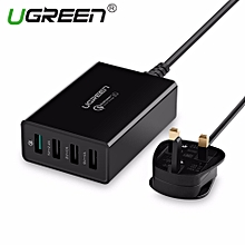 UGREEN 3Pin UK Plug QC 3.0 Charger 4-Port USB Wall Charger for Huawei Nova/Honor Series,Samsung A/J/Note Series S8, S9,Xiaomi Redmi Series, Asus,Oppo,Vivo ect By HonTai