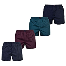 Teal Maroon & Navy Blue Patterned Cotton Boxer Shorts 4-Pck