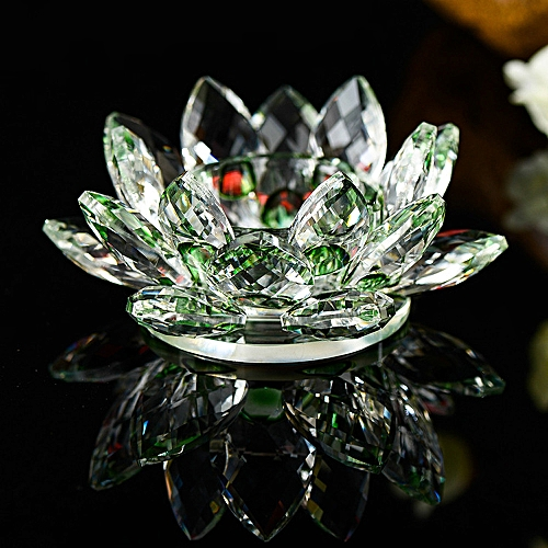 Generic 7 Colors Crystal Glass Lotus Flower Candle Tea Light Holder