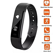 ID115 PRO Fitness Pedometer Tracker Smart Watch Wristband for Android and Apple - Black.