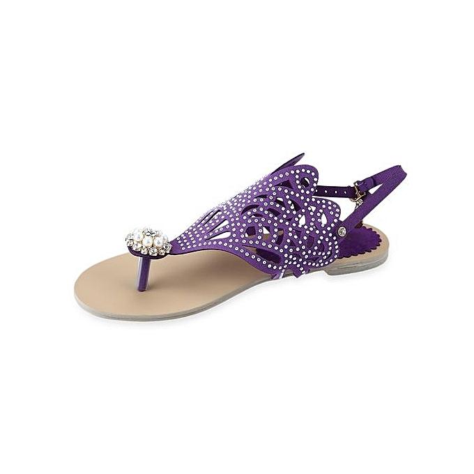 3ad89b2a23bdc7 Flip-flop Flat Sandals For Women Rome Rhinestone Design Shoes-PURPLE ...