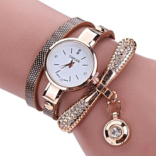 Women Leather Rhinestone Analog Quartz Wrist Watches -Brown