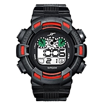 Mens LED Digital Date Alarm Waterproof Rubber And Silicone Sports And Exercise Army Watch Wristwatch RD-Red