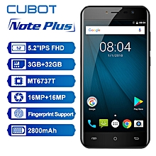 Cubot Note Plus 4G Smartphone 5.2 inch Android 7.0 MTK6737T Quad Core 1.5GHz 3GB RAM 32GB ROM 13.0MP Rear Camera Fingerprint Scanner - BLACK