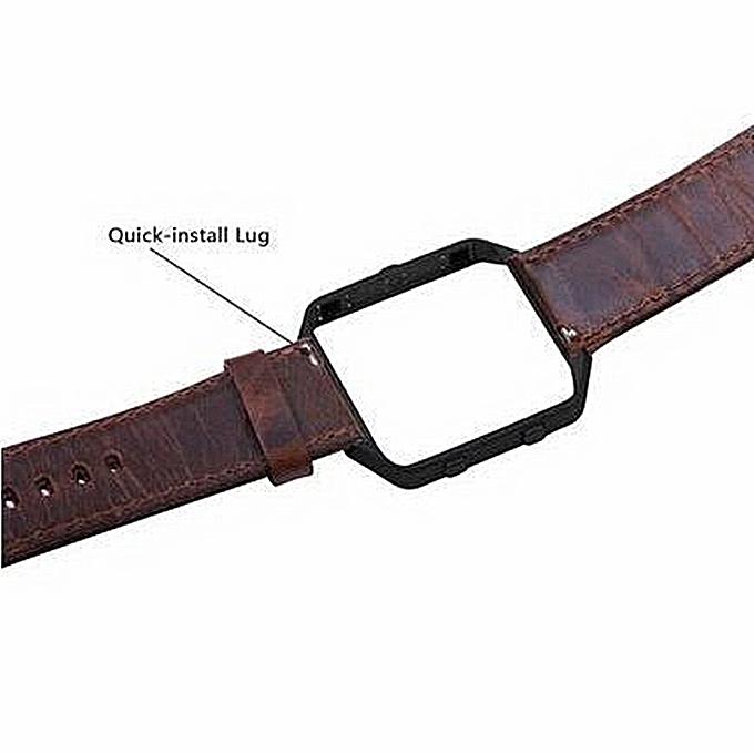 Luxury Leather Watch Band Wrist Strap+ Metal Frame For Fitbit Blaze Smart Watch