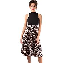 Closet Leopard Print Pleated Skater