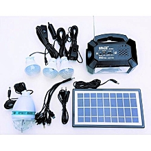 GD-8051 Solar Lighting System Kit with 3 LED Lights, Radio, Mp3 Player, Party Disco Light and Phone Charger