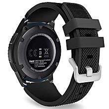 Gear S3 Frontier/Classic Watch Band, Soft Silicone Replacement Sport Strap for Samsung Gear S3 Frontier / S3 Classic/Galaxy Watch 46mm / Moto 360 2nd Gen 46mm Smart Watch, Black
