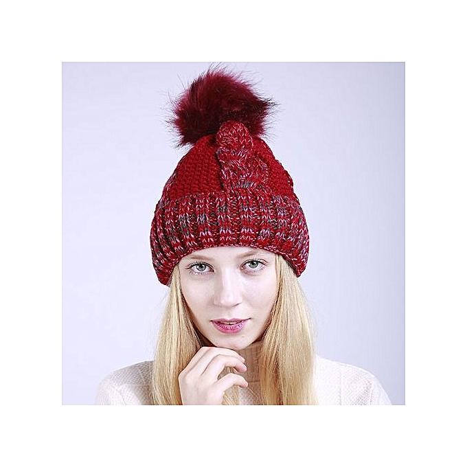6793c6e896d Zetenis Women Warm Crochet Winter Wool Knit Ski Beanie Caps Hat Hairy Bulb- Red