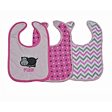 3 Pieces Washable Cotton Bibs - Pretty in Pink