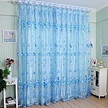 100cm X 200cm(On Rod) Tulip Flower Voile Curtain Drape Door Window Decor - Blue