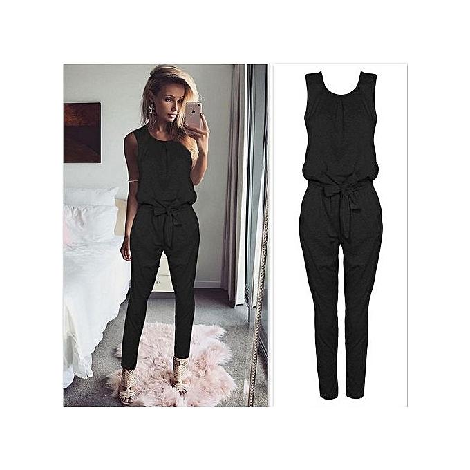 25d8bd0a797a Hot Sale Women Sleeveless Bandage Jumpsuit Slim Fit Solid Color Long Jumpsuit  Romper-black