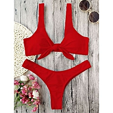 Knotted Padded Thong Bikini - RED